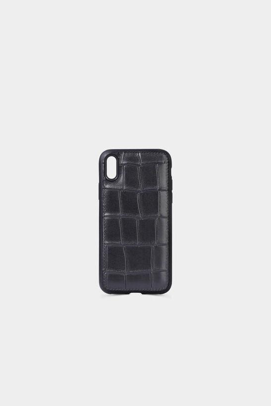 Guard - Efektif Baskılı Siyah Deri iPhone X Kılıfı