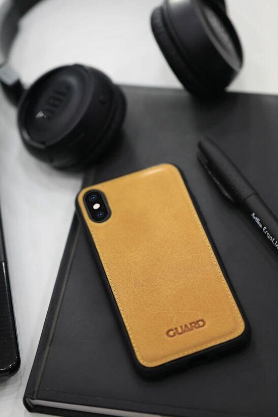 Guard - Guard Antik Deri Sarı iPhone XS Max Telefon Kılıfı