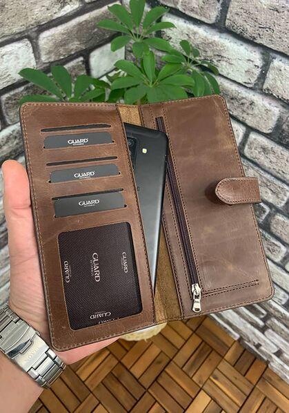 Guard - Guard Antik Kahverengi Kart ve Para Slotlu Deri Telefon Cüzdanı (1)