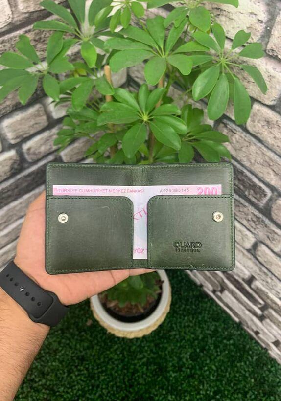 Guard - Guard Antik Yeşil Patlı Tasarım Deri Kartlık (1)