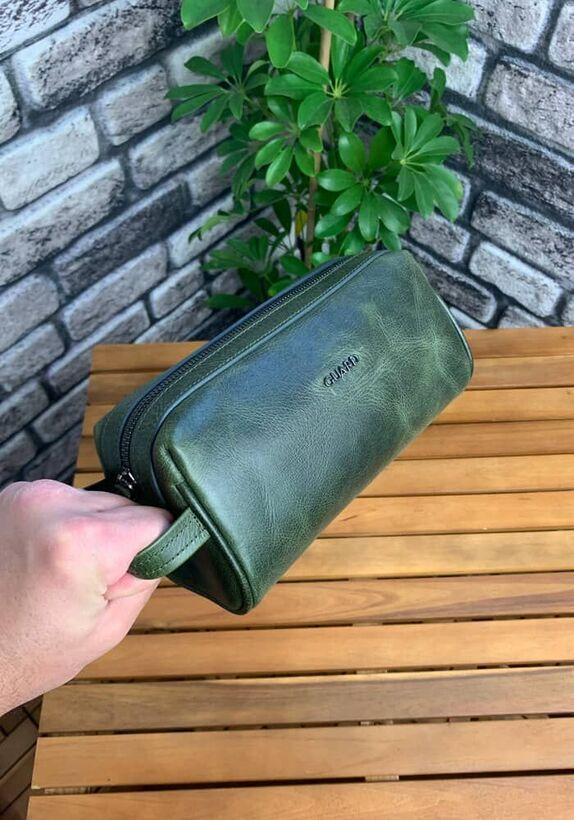 Guard Antik Yeşil Unisex Deri El Çantası