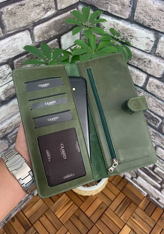Guard - Guard Antik Yeşil Kart ve Para Slotlu Deri Telefon Cüzdanı (1)