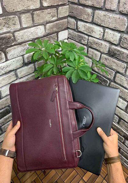 Guard Bordo Deri Özel Üretim Laptop ve Evrak Çantası - Thumbnail