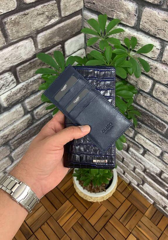 Guard Gizli Kart Bölmeli Lacivert Croco Fermuarlı Portföy Cüzdan