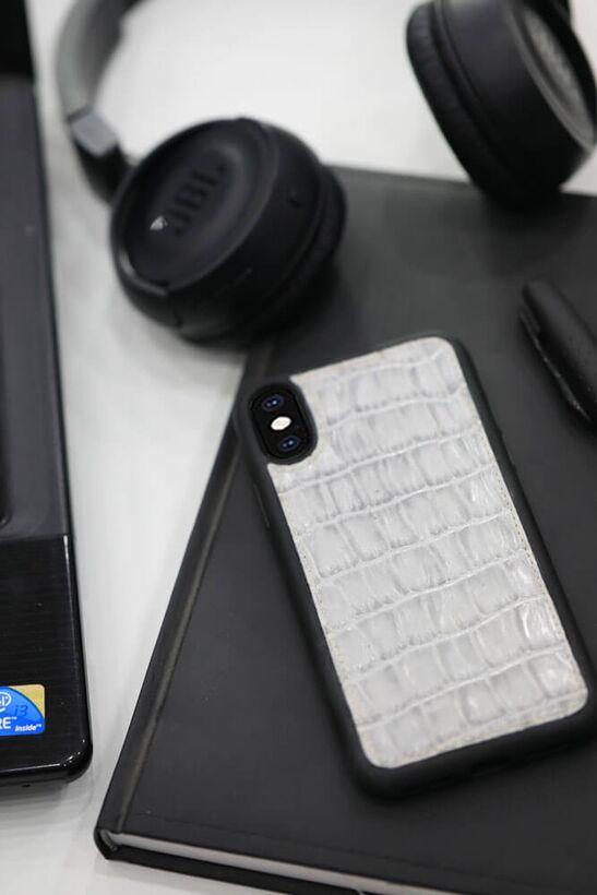 Guard - Guard Gri Croco Desen Deri iPhone X / XS Kılıfı
