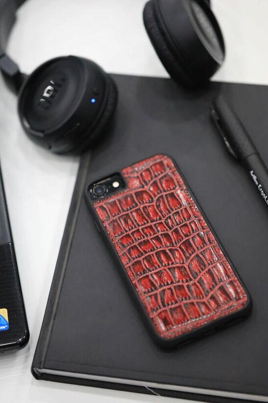Guard - Guard iPhone 6 / 6s / 7 için Kırmızı Croco Model Deri Telefon Kılıfı