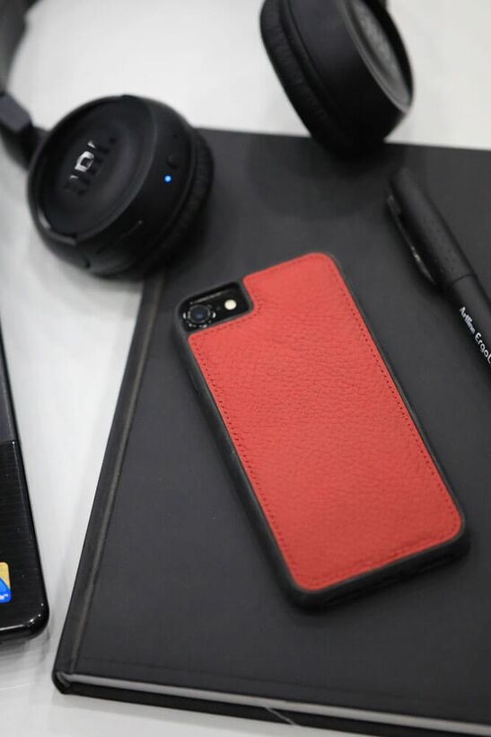 Guard - Guard iPhone 6 / 6s / 7 için Kırmızı Deri Telefon Kılıfı
