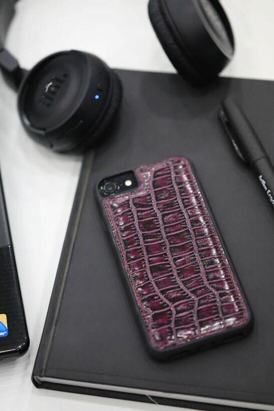 Guard - Guard iPhone 6 / 6s / 7 için Mor Croco Model Deri Telefon Kılıfı