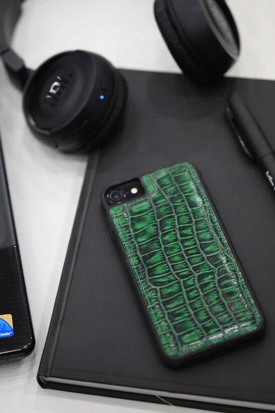 Guard - Guard iPhone 6 / 6s / 7 için Yeşil Croco Model Deri Telefon Kılıfı