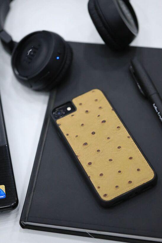 Guard - Guard iPhone 6 / 6s / 7 için Taba Deve Kuşu Model Deri Telefon Kılıfı