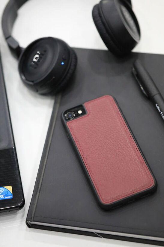 Guard - Guard iPhone 6 / 6s / 7 için Bordo Deri Telefon Kılıfı