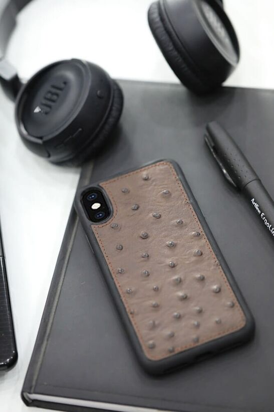 Guard - Guard Kahve Deve Kuşu Model Deri iPhone X / XS Kılıfı