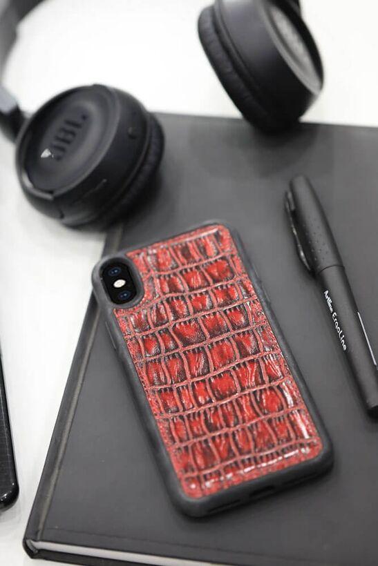 Guard - Guard Kırmızı Croco Desen Deri iPhone X / XS Kılıfı