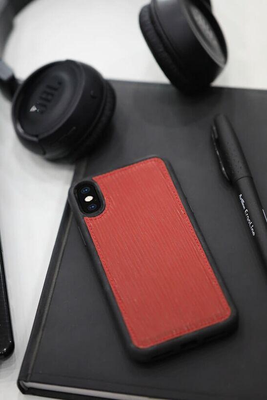 Guard Kırmızı Yol Desenli Deri iPhone X / XS Kılıfı