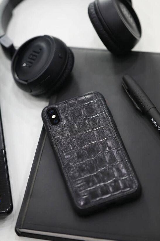 Guard - Guard Siyah Croco Deri Xs Max Telefon Kılıfı