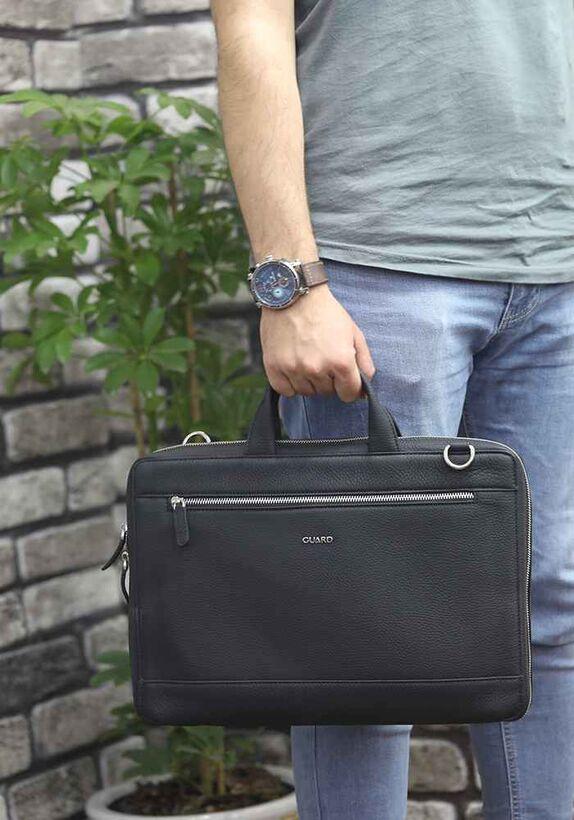 Guard - Guard Siyah Deri Özel Üretim Laptop ve Evrak Çantası (1)