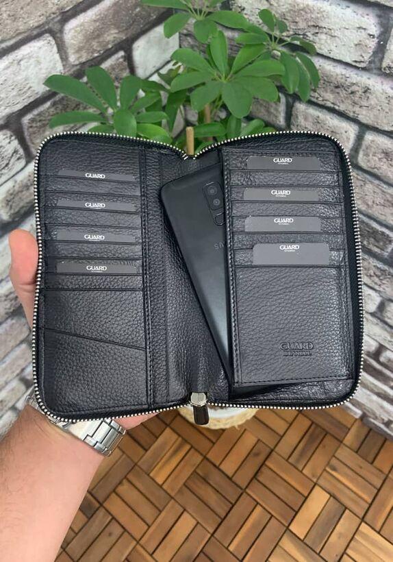 Guard - Guard Telefon Girişli Fermuarlı El Portföyü - Siyah (1)