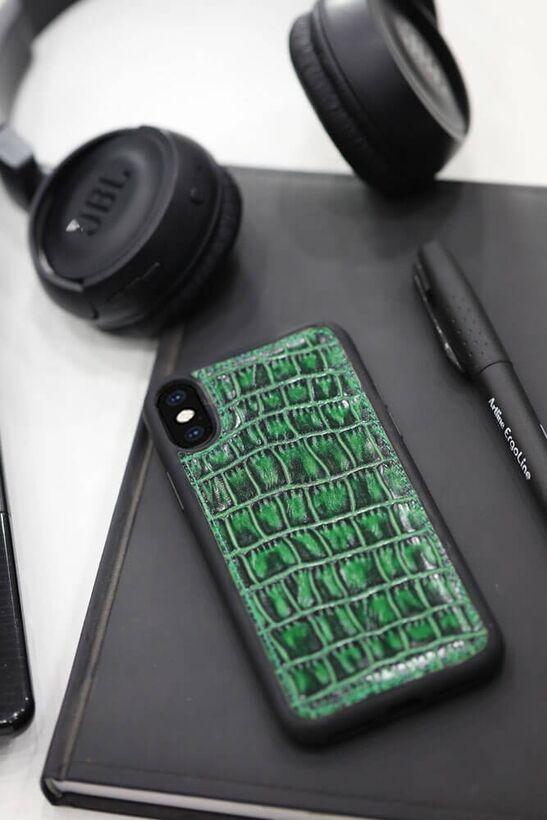 Guard - Guard Yeşil Croco Desenli Deri iPhone X / XS Kılıfı