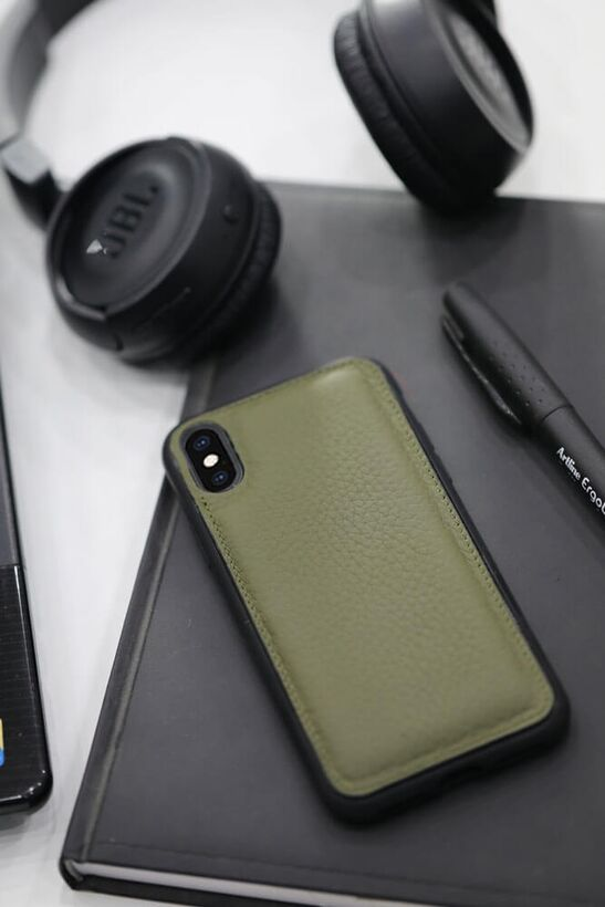 Guard - Guard Yeşil Deri iPhone X / XS Telefon Kılıfı