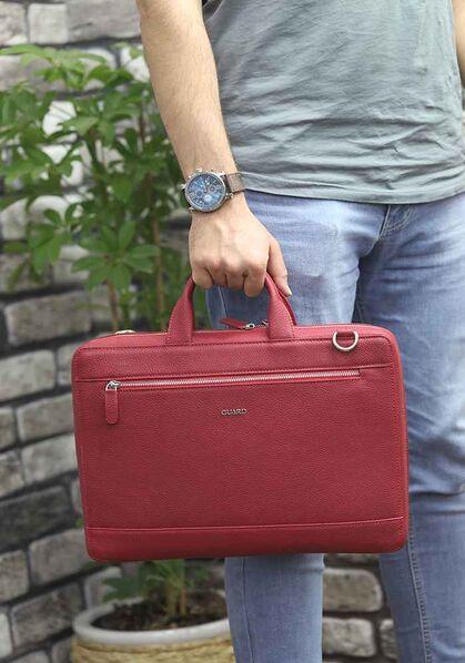 Guard Kırmızı Deri Özel Üretim Laptop ve Evrak Çantası - Thumbnail