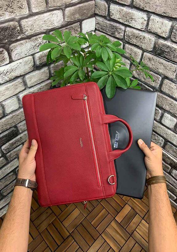 Guard Kırmızı Deri Özel Üretim Laptop ve Evrak Çantası