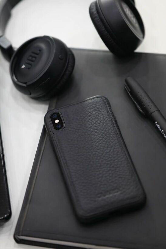 Guard - Guard Mat Siyah Deri Xs Max Telefon Kılıfı