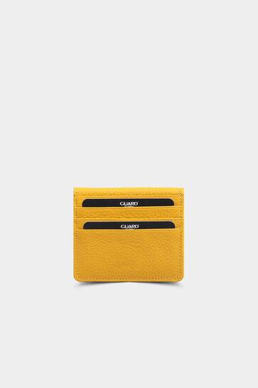 Sarı Patlı Tasarım Deri Kartlık - Thumbnail