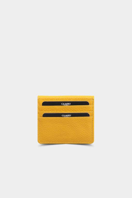 Sarı Patlı Tasarım Deri Kartlık