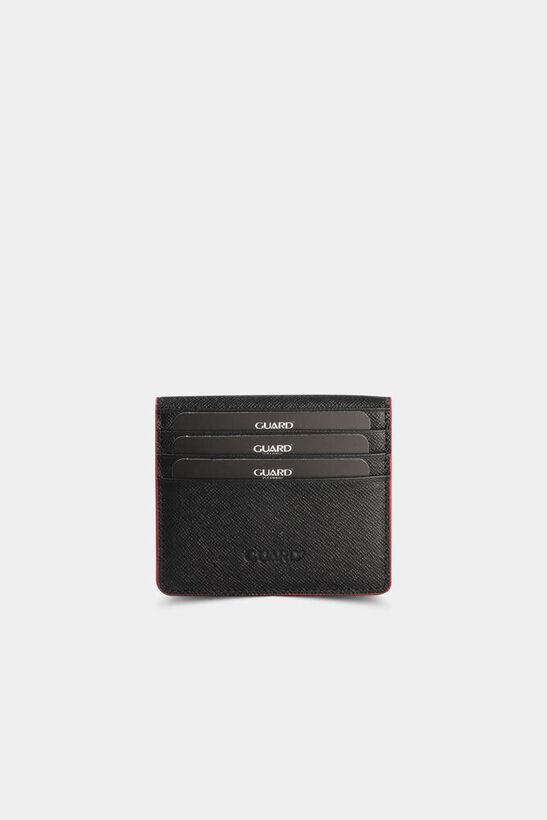 Guard - Siyah / Kırmızı Saffiano Patlı Tasarım Deri Kartlık