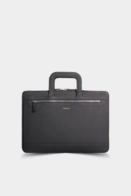 Guard - Siyah Deri Evrak ve Laptop Çantası