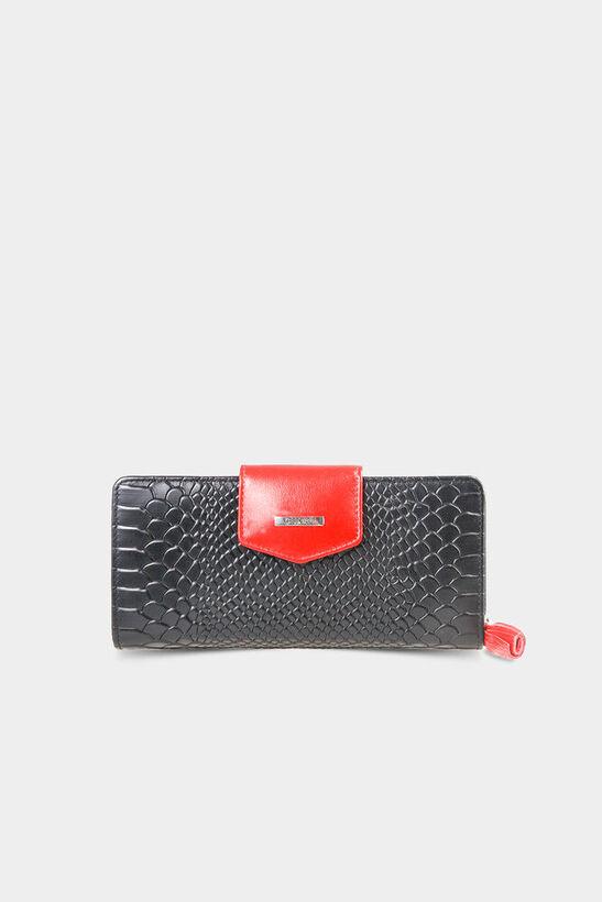 Guard - Siyah Kırmızı Timsah Baskı Fermuarlı ve Deri Patlı El Portföyü