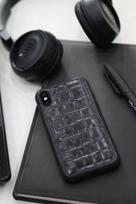 Guard - Guard Timsah Baskılı Siyah Deri iPhone X / XS Kılıfı