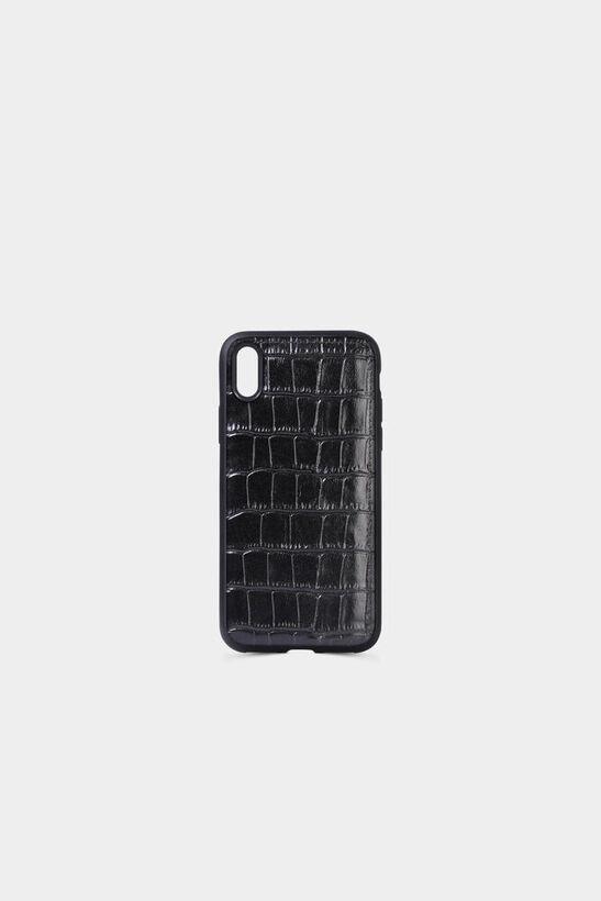 Guard - Timsah Baskılı Siyah Deri iPhone X Kılıfı