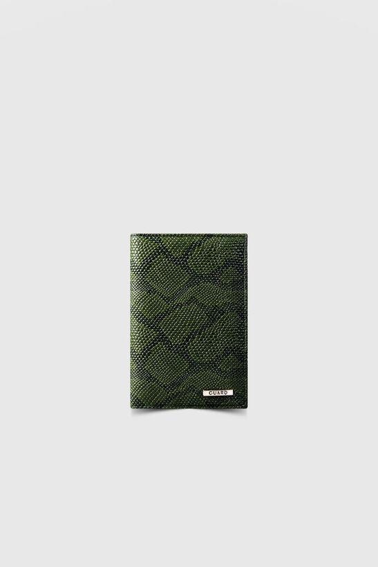 Guard - Guard Yeşil Piton Baskı Pasaport Kılıfı